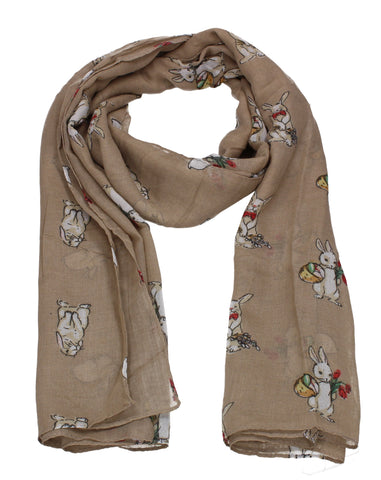 Ronnie Bunny Rabbit Print Winter Scarf Brown