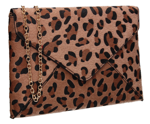 Sasha Faux Suede Leopard Print Clutch Bag Dark Brown