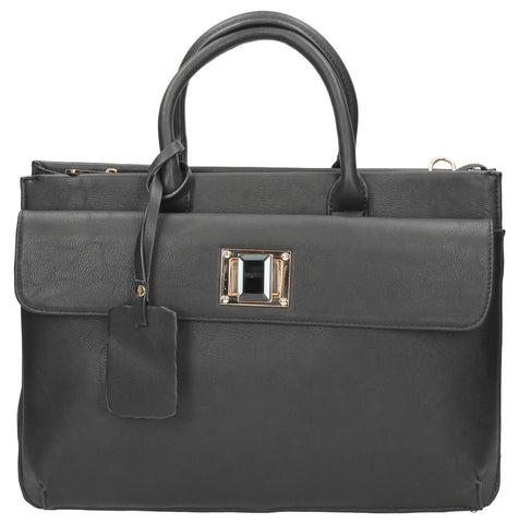 Elle Business Handbag - Black-Handbags-SWANKYSWANS
