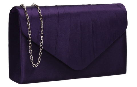 Chantel Beautiful Satin Envelope Clutch Bag Purple