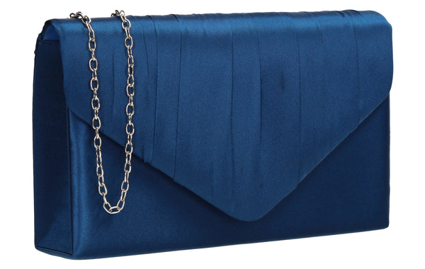 Chantel Beautiful Satin Envelope Clutch Bag Denium