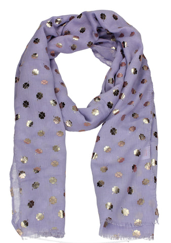 Four Leaf Clover Rose Gold Foil Print Scarf Purple