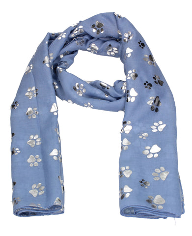 Holly Silver Foil Paw Print Puppy Dog Scarf Blue