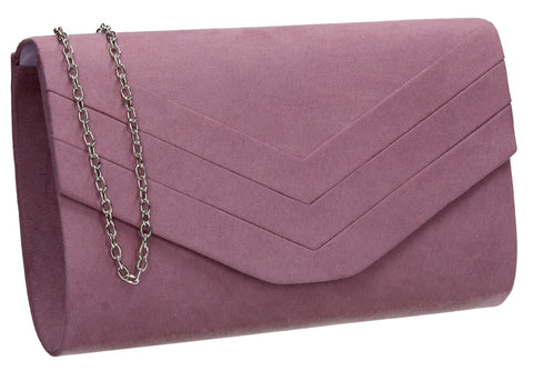 SWANKYSWANS Samantha V Detail Clutch Bag Light Purple Cute Cheap Clutch Bag For Weddings School and Work