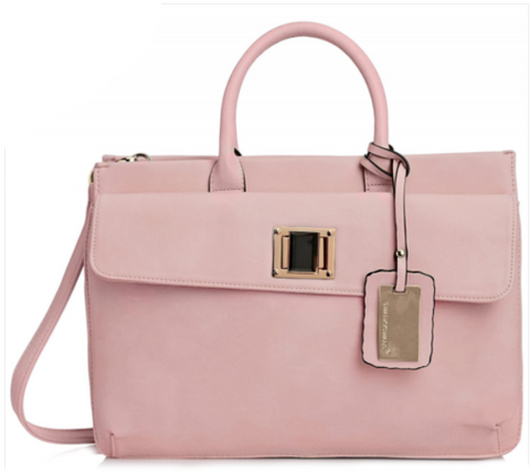Elle Business Handbag - Pink-Handbags-SWANKYSWANS