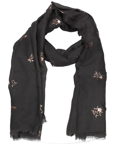 Ladybird Rose Gold Foil Animal Print Scarf Charcoal Grey