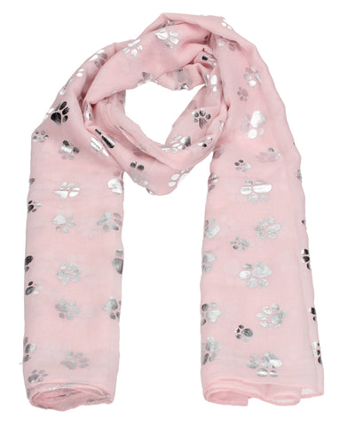 Holly Silver Foil Paw Print Puppy Dog Scarf Pink