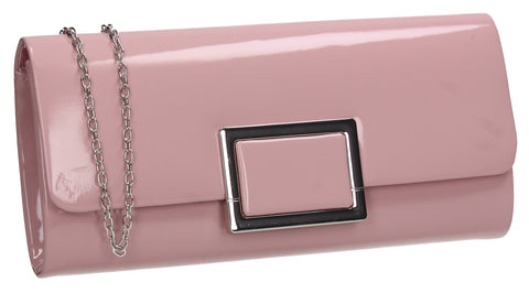 Katelyn Flapover Patent Clutch Bag Flesh Pink