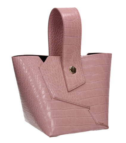 Jen Faux Leather Croc Bucket Structure Bag Pink