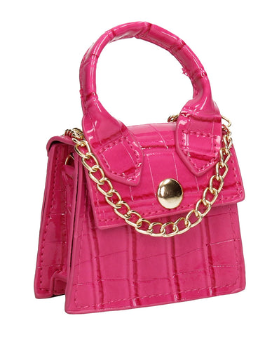 Brooklyn Faux Leather Croc Micro Grab Crossbody Clutch Bag Fuchsia Pink