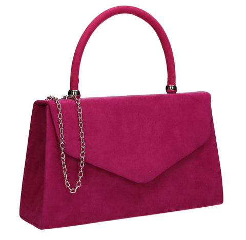 Kendall Faux Suede Clutch Bag Fuchsia Pink