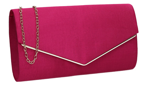 Alison Satin Envelope Clutch Bag Fuchsia