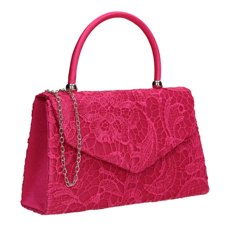 Kendall Lace Clutch Bag Fuchsia Pink