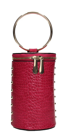 Brenda Faux Leather Party Bucket Handbag Fuchsia Pink