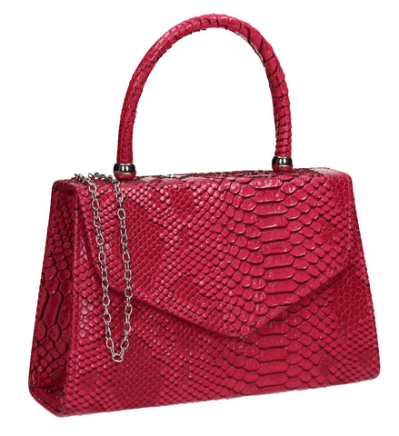 Lucy Mini-Handbag Faux Leather Snakeskin Effect Clutch Bag Fuchsia Pink