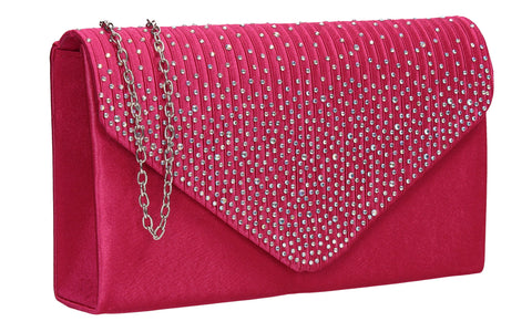 Abby Diamante Clutch Bag Fuchsia Pink