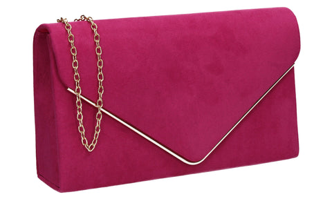 Oscar Faux Suede Envelope Clutch Bag Fuchsia