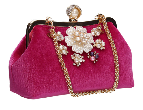 Jayde Faux Pearl Floral Clutch Bag Fuchsia Pink