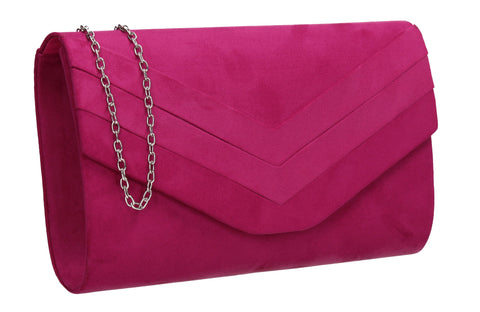 Samantha V Detail Clutch Bag Fuchsia Pink