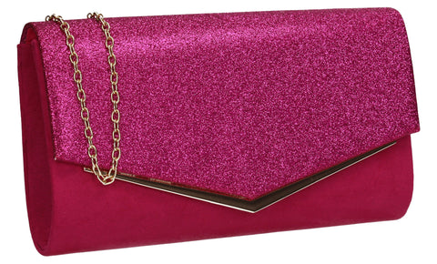 Janey Glitter Envelope Clutch Bag Fuchsia Pink