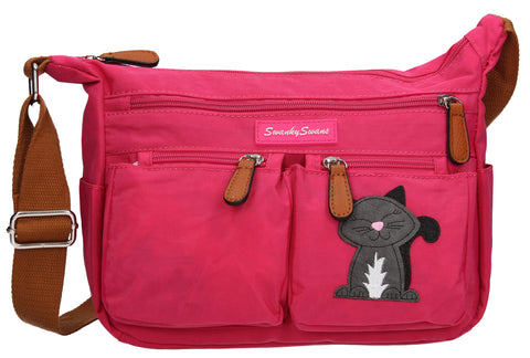 Norma Handbag with Cat Motif Fuchsia Pink