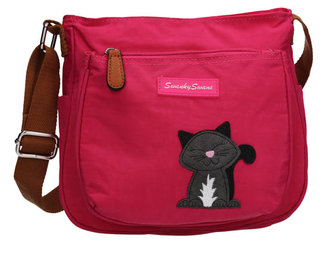 Emmy Crossbody with Cat Motif Fuchsia Pink
