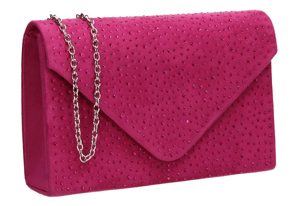 SWANKYSWANS Sidney Diamante Clutch Bag Fuschia Cute Cheap Clutch Bag For Weddings School and Work