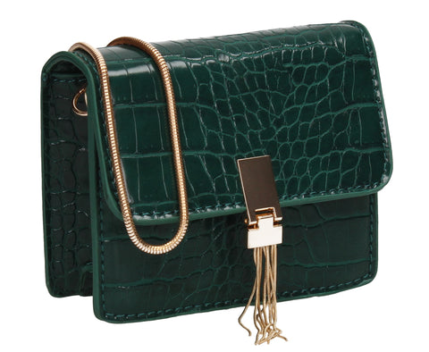 Anna Micro Mini Statement Crossbody Clutch Bag Green