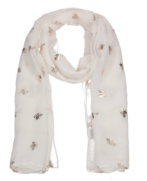Worker Bee Gold Foil Animal Print Winter Scarf White