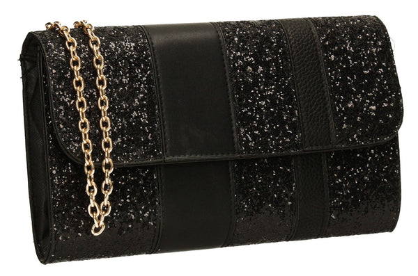 SWANKYSWANS Gigi Glitter Clutch Bag Black