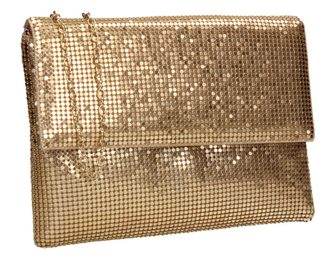 Daniella Sequin Flapover Clutch Bag Gold
