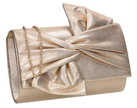 June Bow Style Clutch Bag Gold
