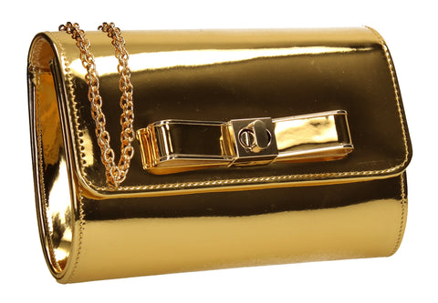 Ozcar Shiny Clutch Bag Gold