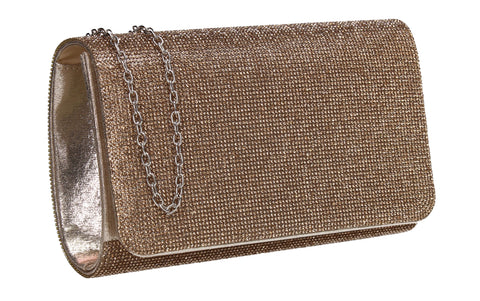Hallie Diamante Clutch Bag Gold