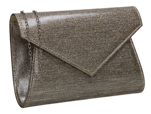 Zoe Sparkly Envelope Clutch Bag Gold