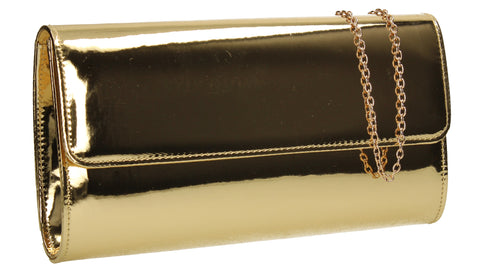 Cara Metallic Clutch Bag Gold