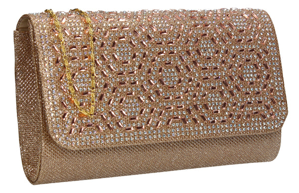 SWANKYSWANS Sophie Diamante Clutch Bag Gold Cute Cheap Clutch Bag For Weddings School and Work