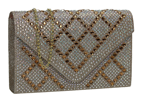 SWANKYSWANS Bethany Diamante Clutch Bag Gold Cute Cheap Clutch Bag For Weddings School and Work