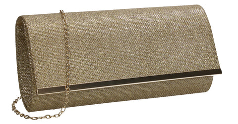 Lucey Flapover Glitter Clutch Bag Gold