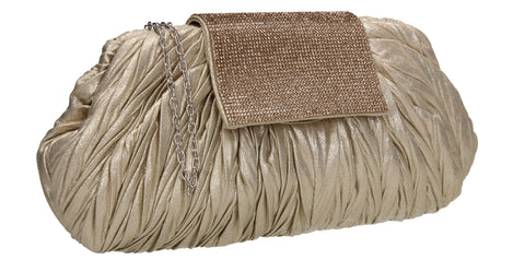 Sienna Diamante Pouch Clutch Bag Gold
