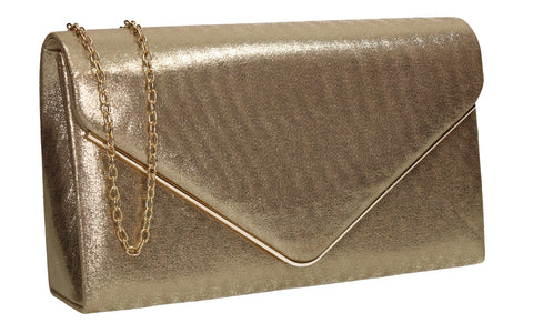 Poppy Synthetic Envelope Clutch Bag Gold