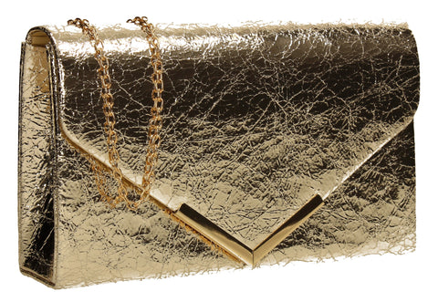 SWANKYSWANS Anastasia Clutch Bag Gold Cute Cheap Clutch Bag For Weddings School and Work