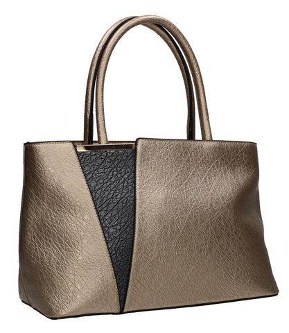 Brielle Two Tone Vegan Leather Handbag Gold
