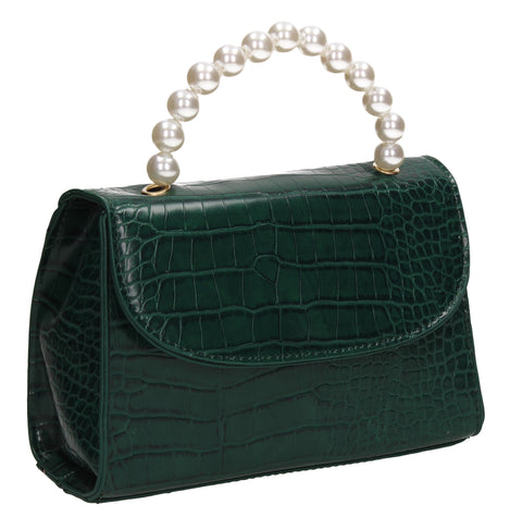 Jadyn Faux Leather Croc Effect Acrylic Handle Crossbody Green