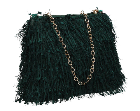 Alaina Thread Tassle Zip Clutch Green