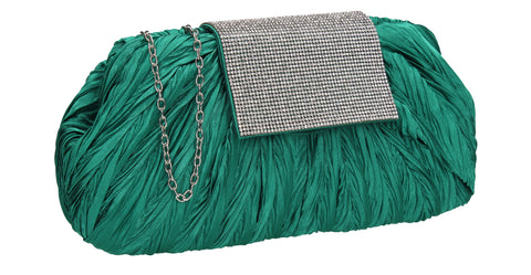 Sienna Diamante Pouch Clutch Bag Green