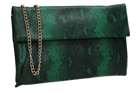 Colette Faux Snakeskin Slim Clutch Bag Green