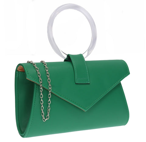 Gabriela Faux Leather Ring Handle Envelope Clutch Bag Green