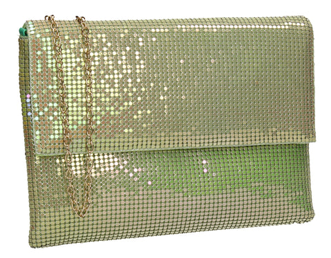 Daniella Sequin Flapover Clutch Bag Green