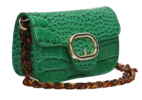 Robyn Croc Effect Crossbody Clutch Bag Green